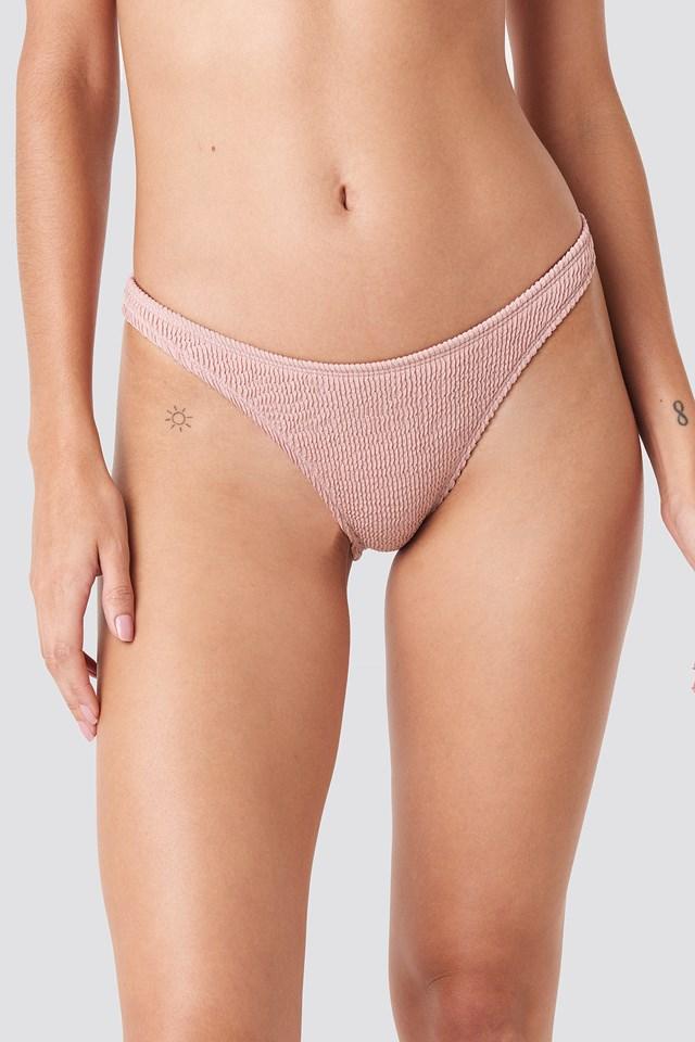 Basic Smocked Bikini Bottom Pink
