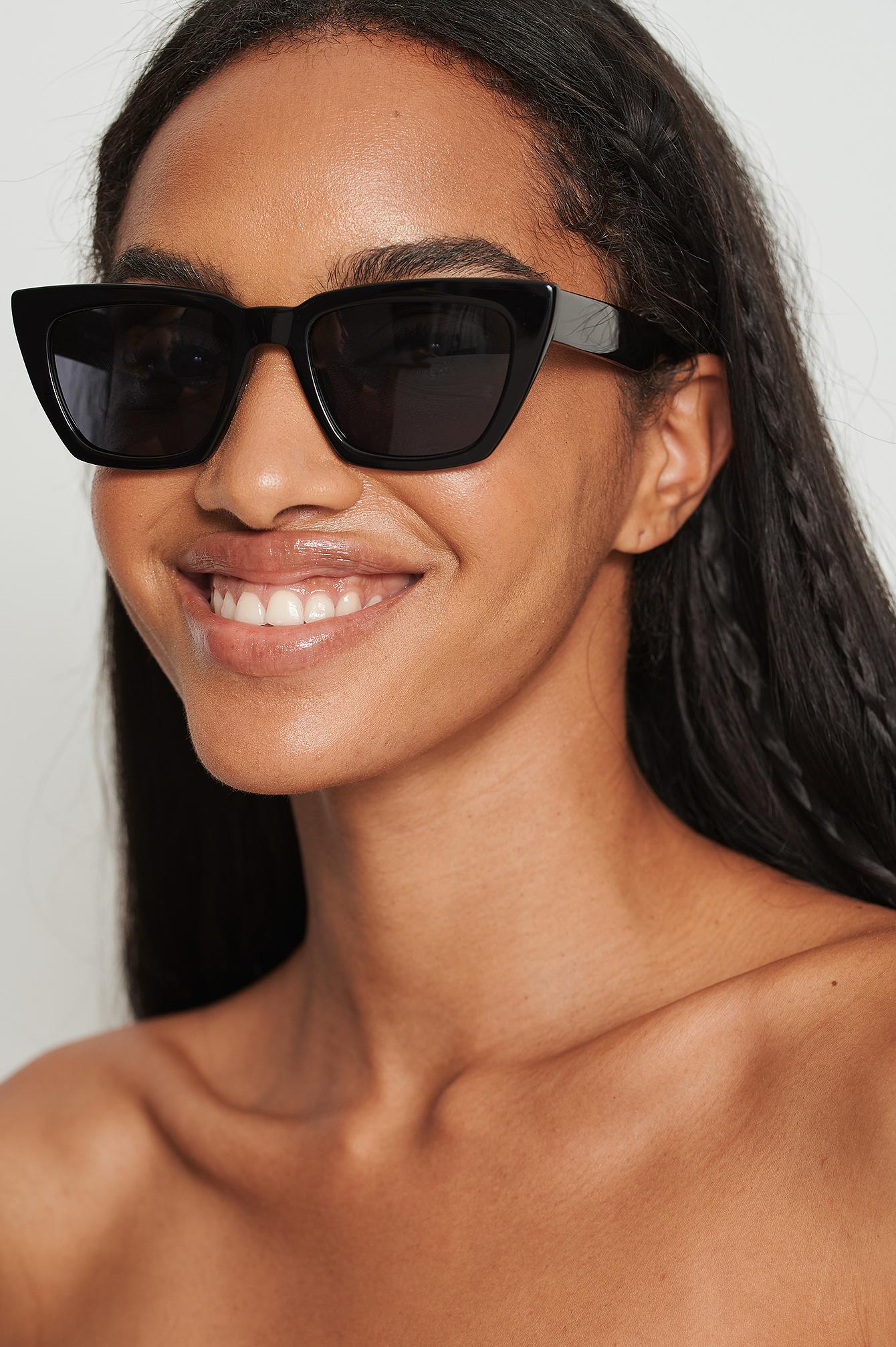 NA-KD Accessories Basic Squared Acetate Sunglasses - Black