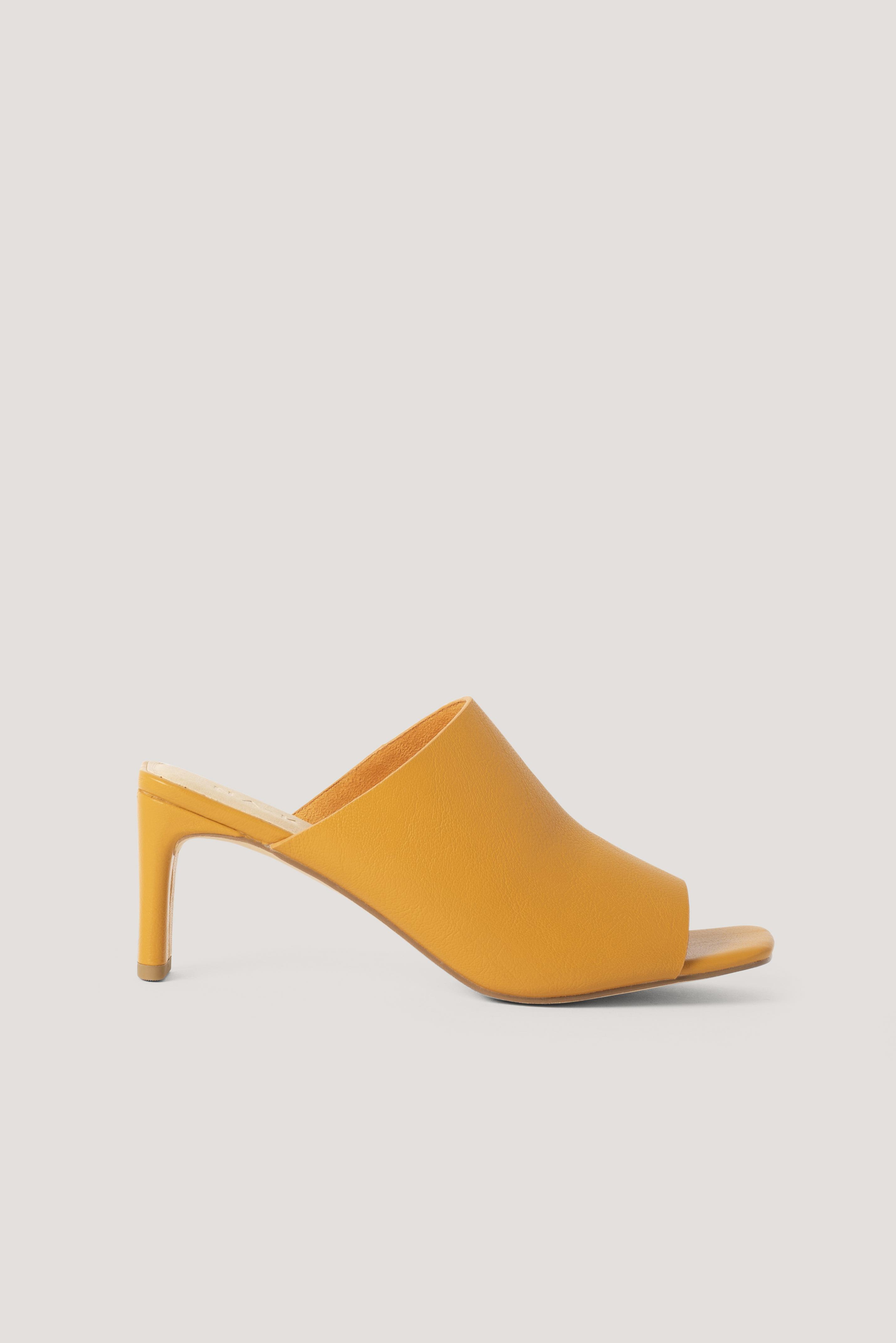 na-kd shoes -  Basis-Pantoletten Mit Quadratischem Absatz - Orange