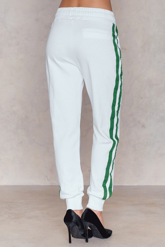 Basic Striped Sweatpants White
