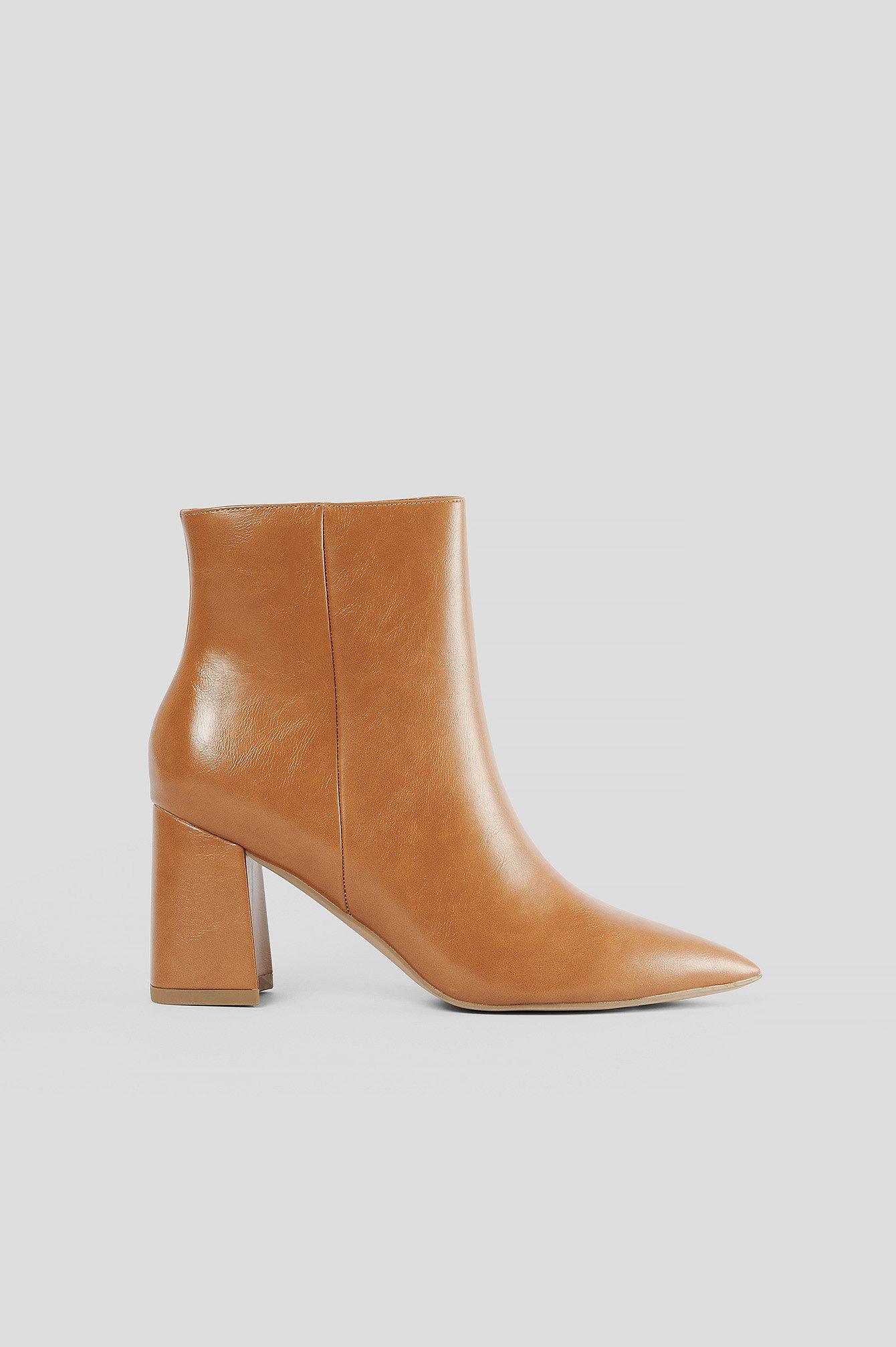 NA-KD Shoes Låga Lackstövlar - Brown