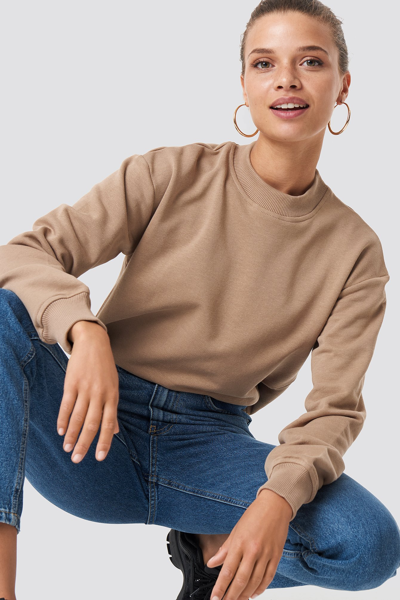 na-kd basic -  Basic Sweater - Brown