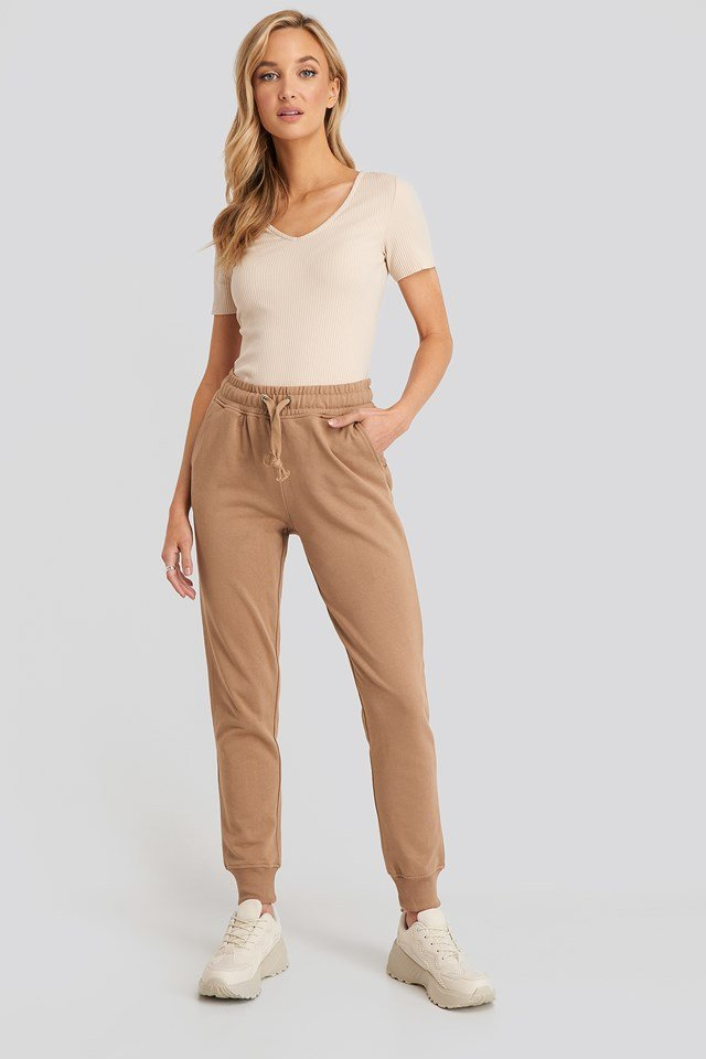 Basic Sweatpants Dark Beige