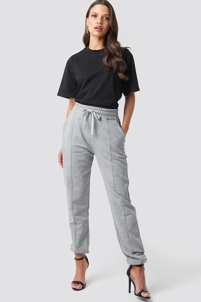 Basic Panel Sweatpants Grey Melange