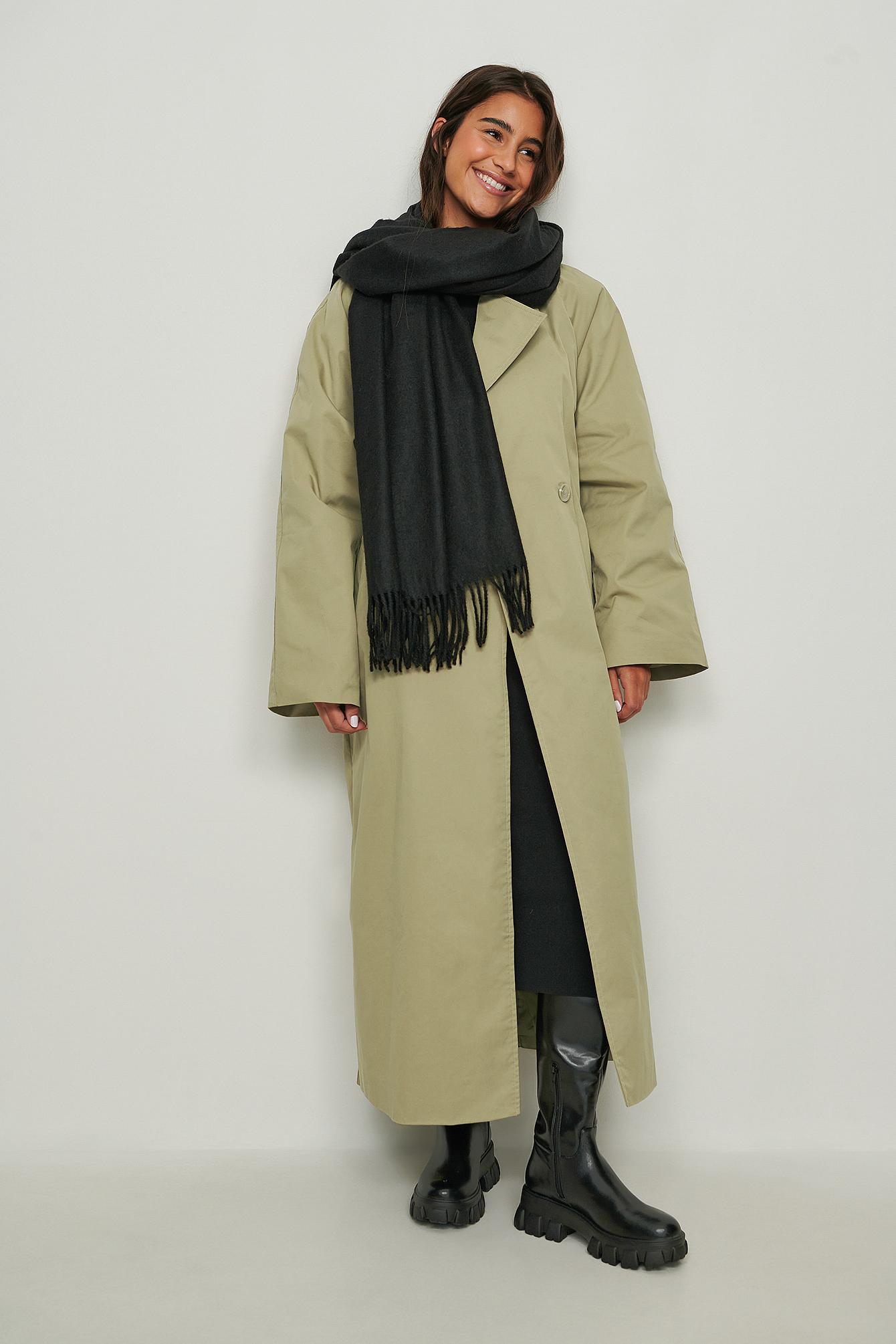 NA-KD Accessories Tørklæde i uld - Black