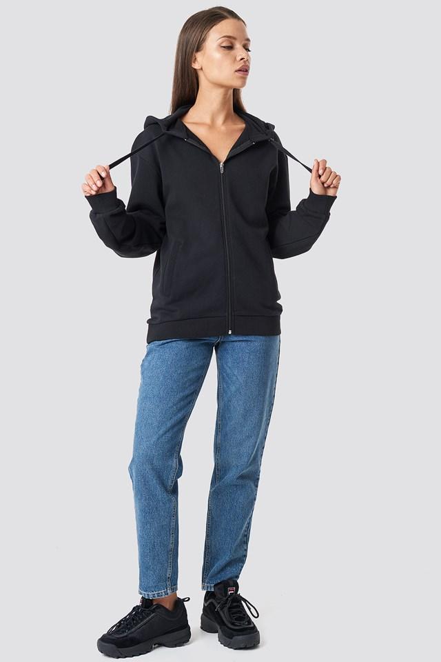 Basic Zipped Hoodie Black