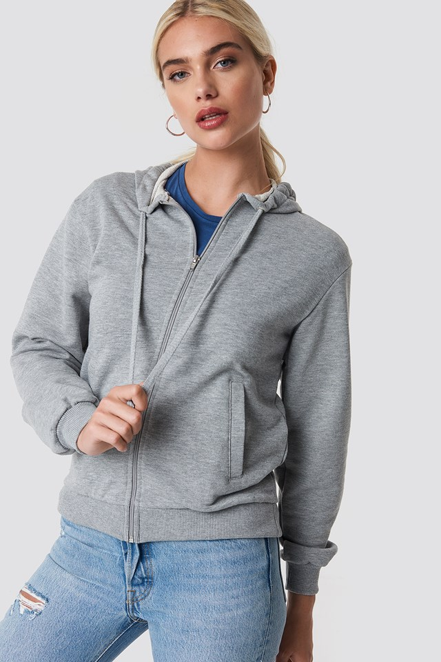 Basic Zipped Hoodie NA-KD Basic