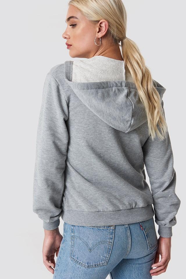 Basic Zipped Hoodie Grey Mel