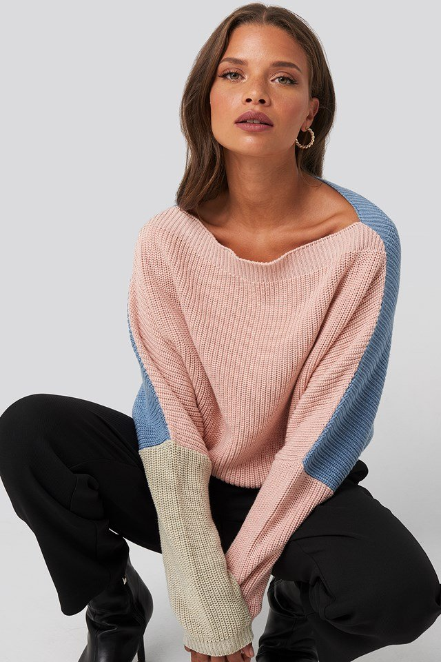 Batwing Cropped Ribbed Sweater Pink