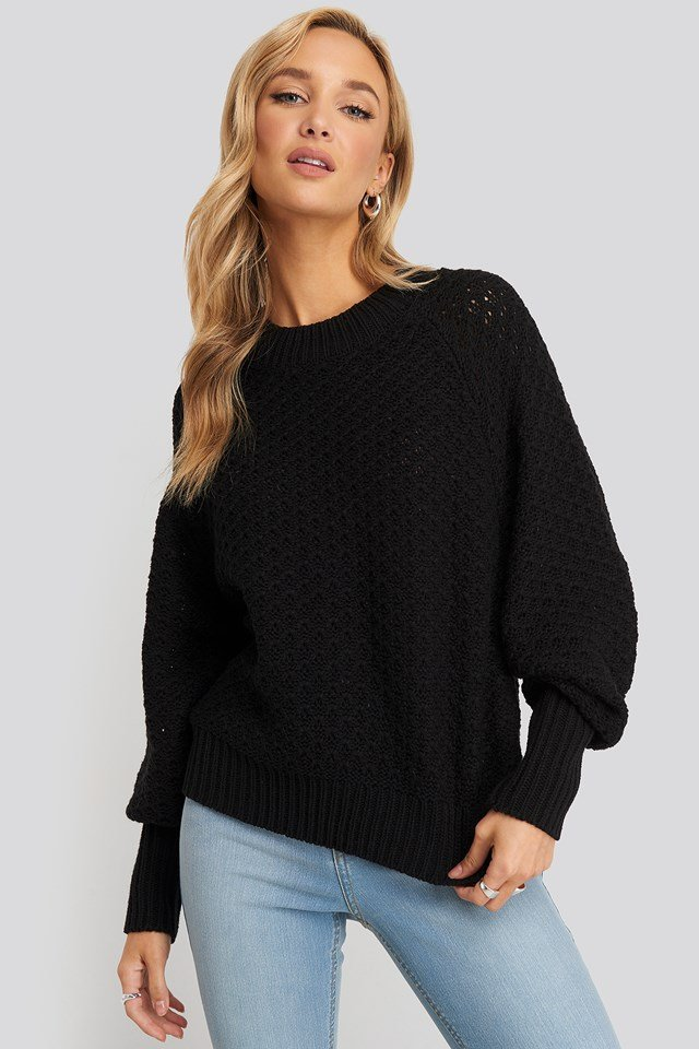Batwing Knitted Sweater Black