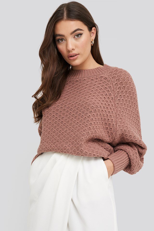 Batwing Knitted Sweater Dusty Dark Pink