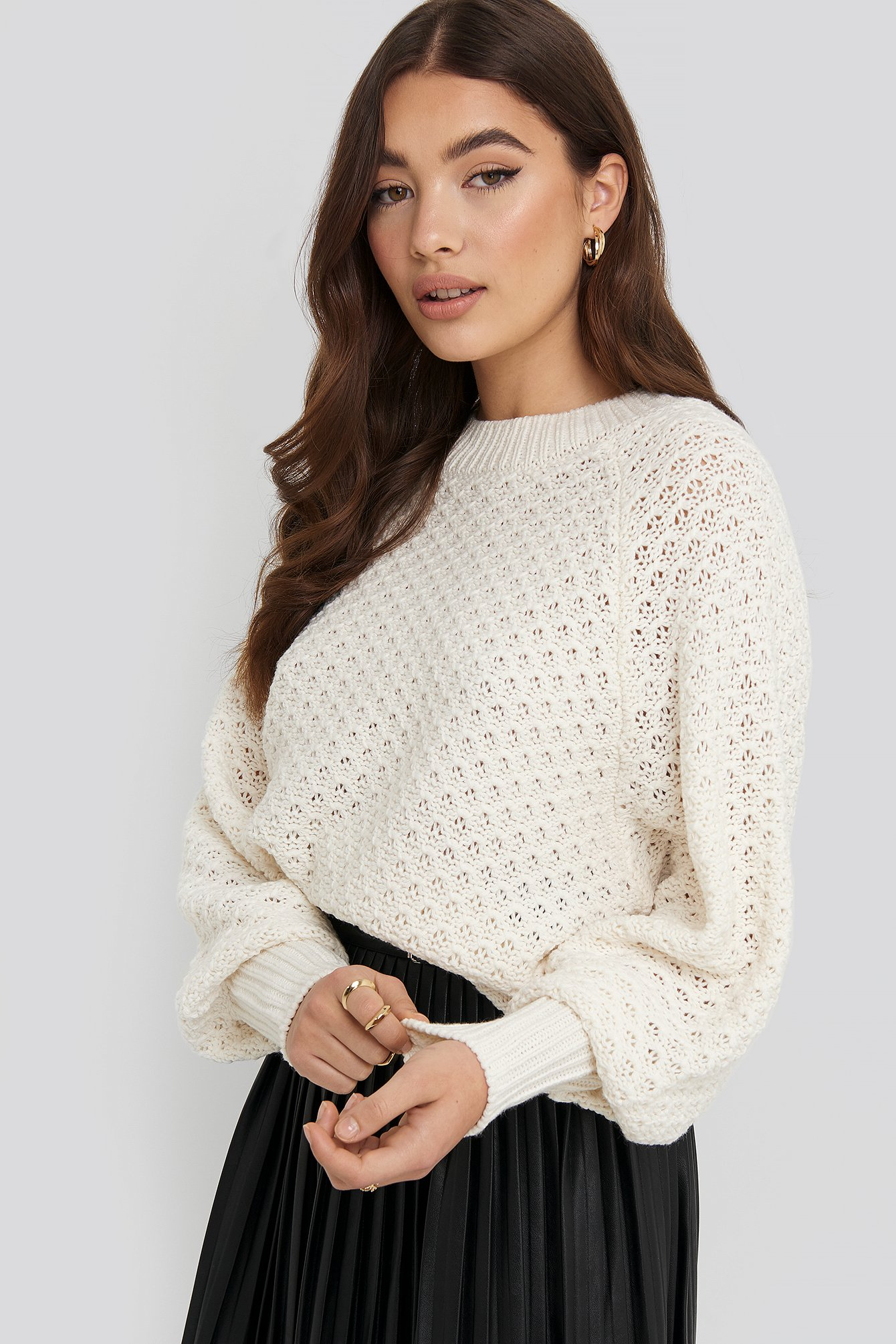 na-kd -  Batwing Knitted Sweater - White