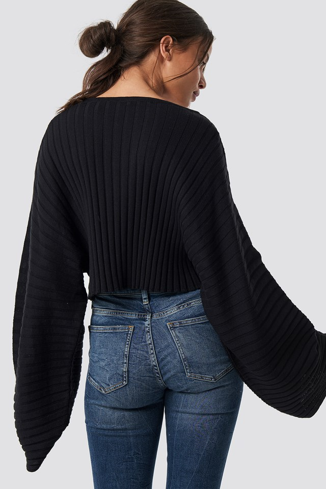 Batwing Ribbed Knitted Sweater Black