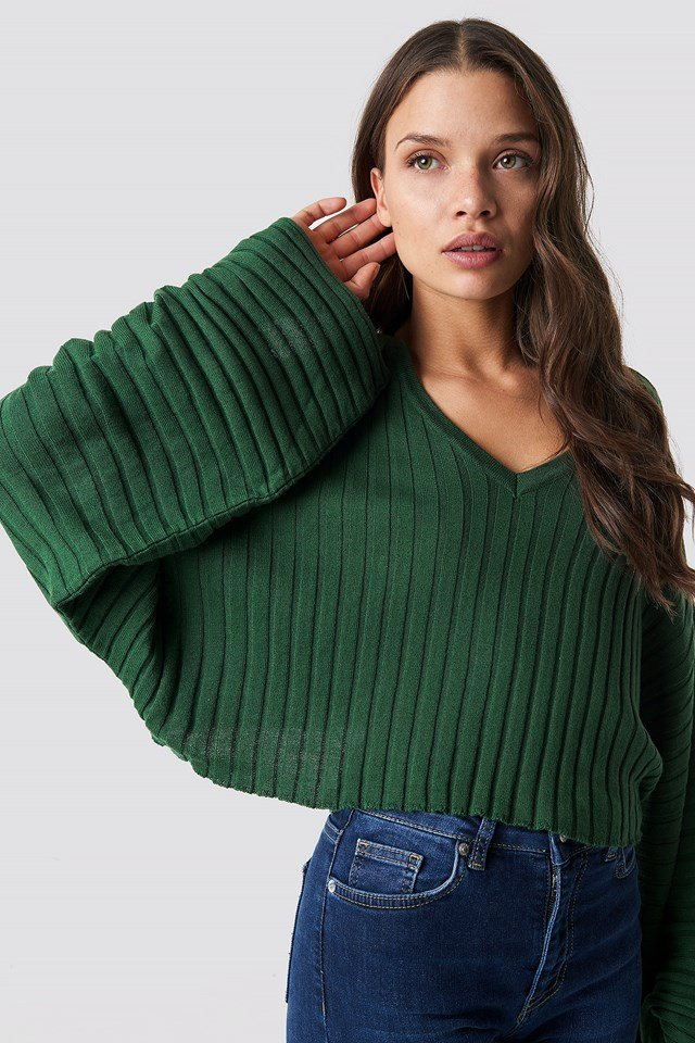 Batwing Ribbed Knitted Sweater Green