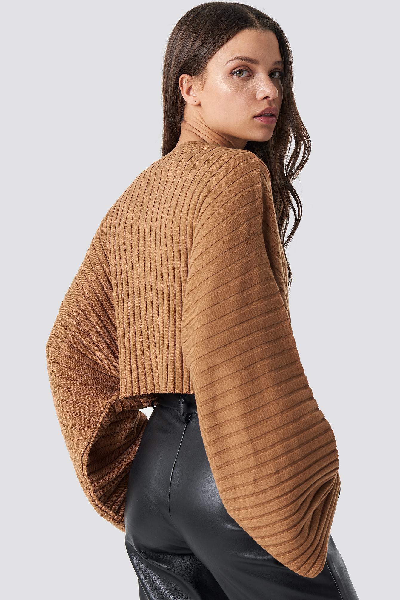Batwing Ribbed Knitted Sweater NA-KD.COM