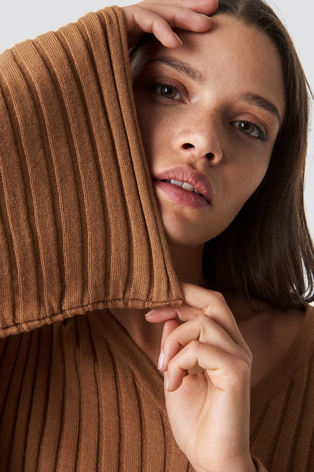 Batwing Ribbed Knitted Sweater Tan