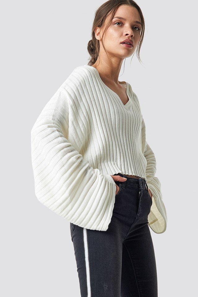 Batwing Ribbed Knitted Sweater Offwhite