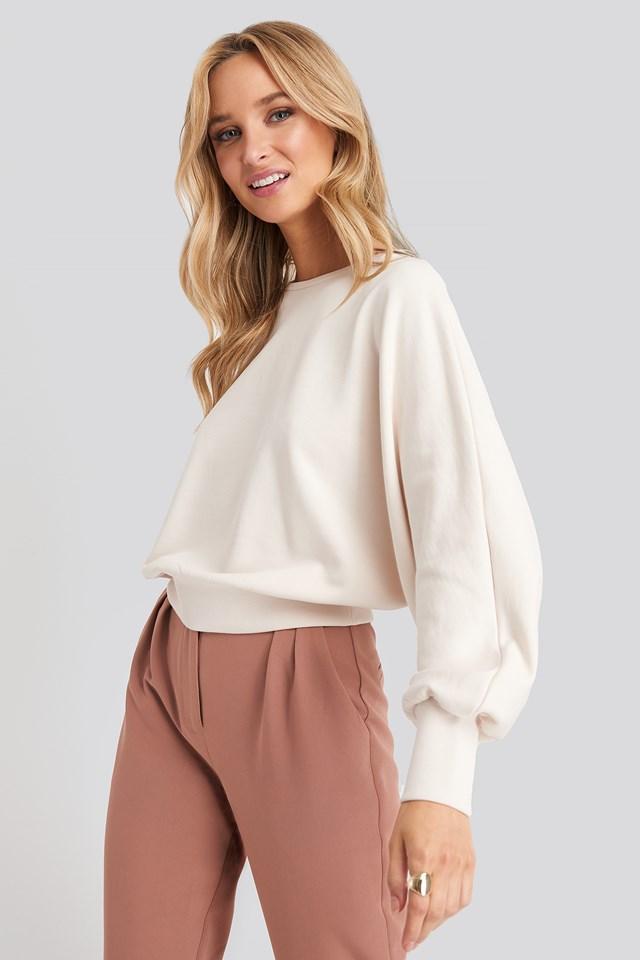 Batwing Sleeve Sweatshirt White Sand