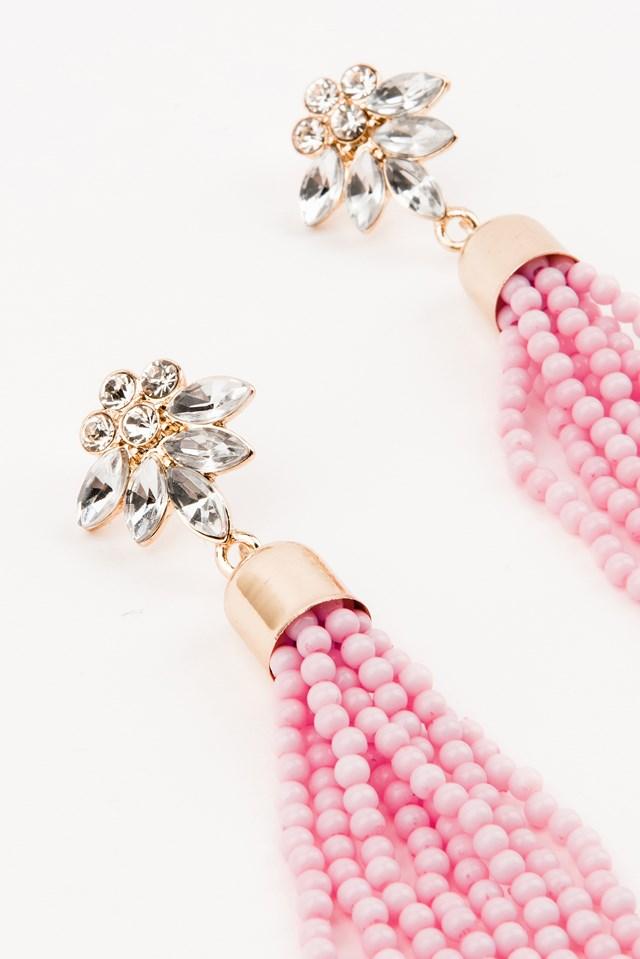 Bead Tassel Earring Pink