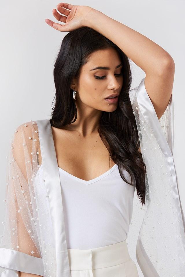 Beaded Glitter Kimono White