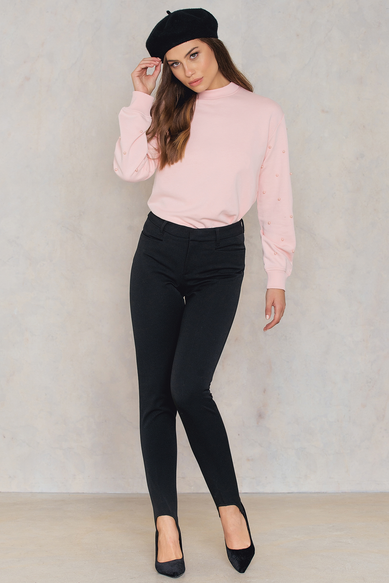 Light Pink Beaded Sleeve Sweater