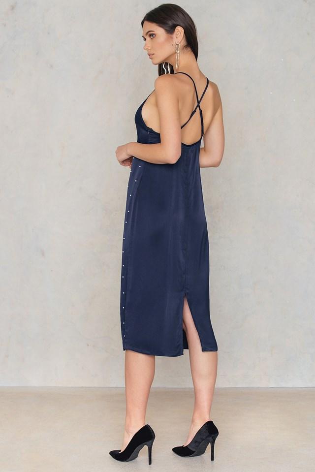 Beaded Slip Dress Dark Blue