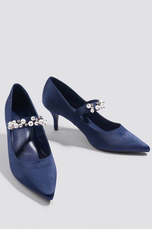 Beaded Strap Satin Pumps Dark Blue