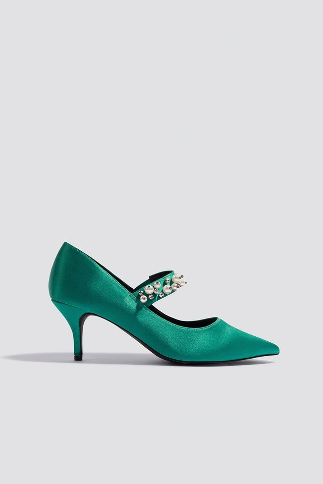 Beaded Strap Satin Pumps Basil green