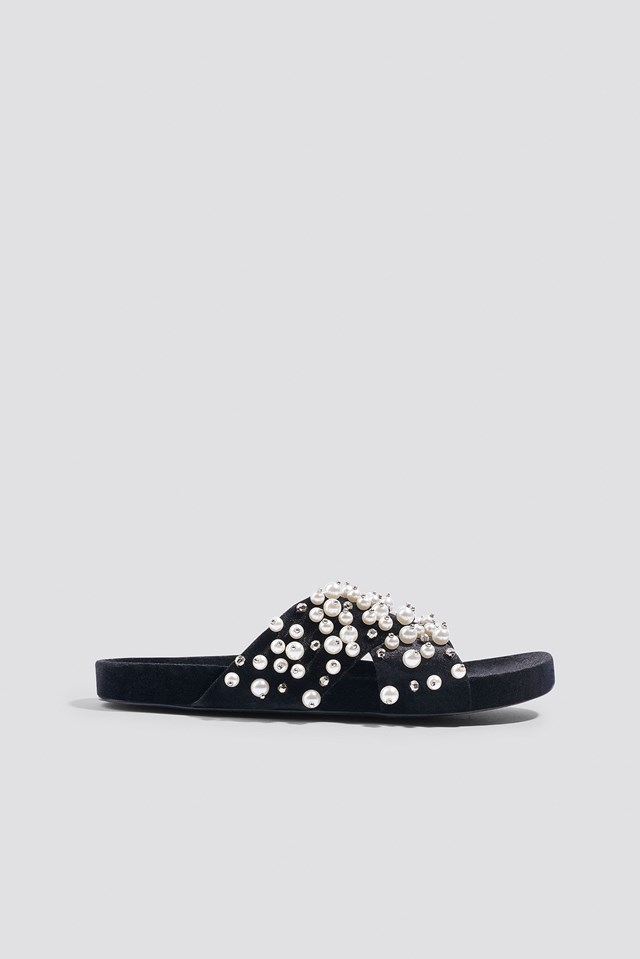 Beaded Velvet Slippers Black