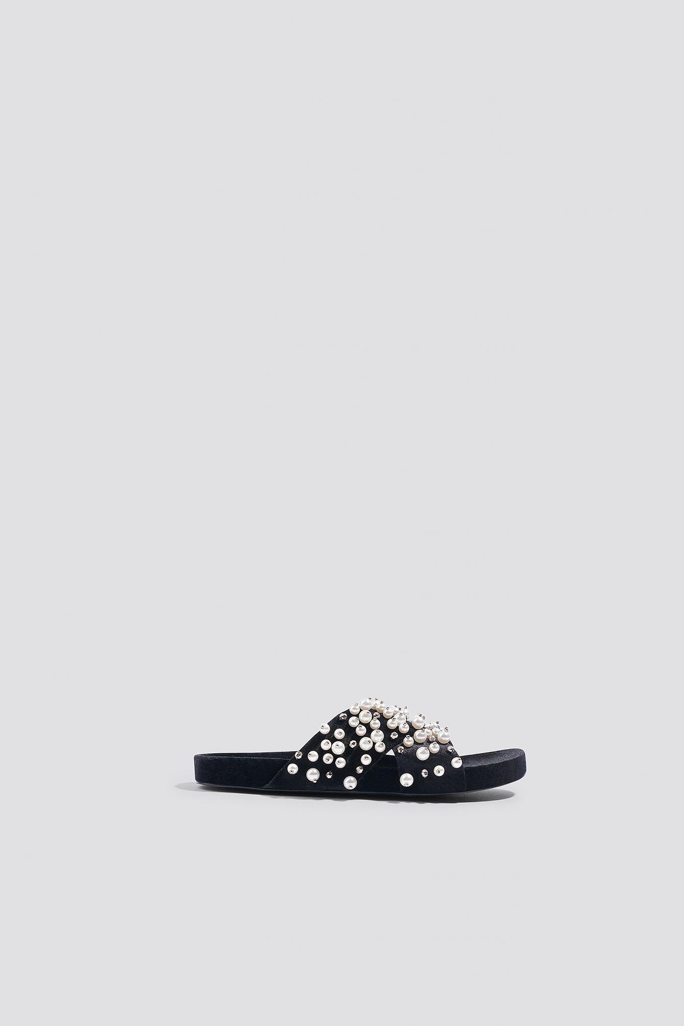 Beaded Velvet Slippers - Black