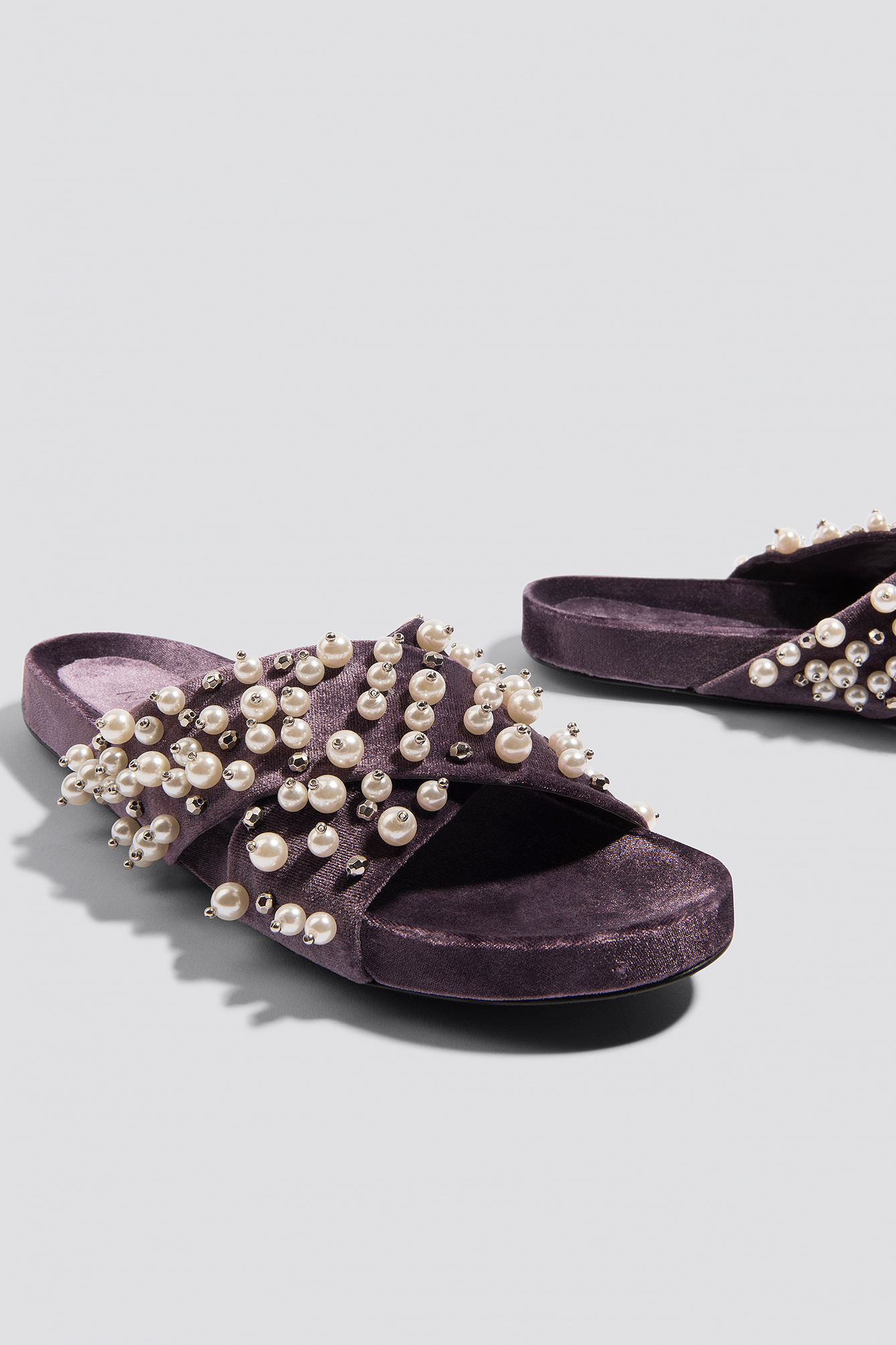 Beaded Velvet Slippers NA-KD.COM