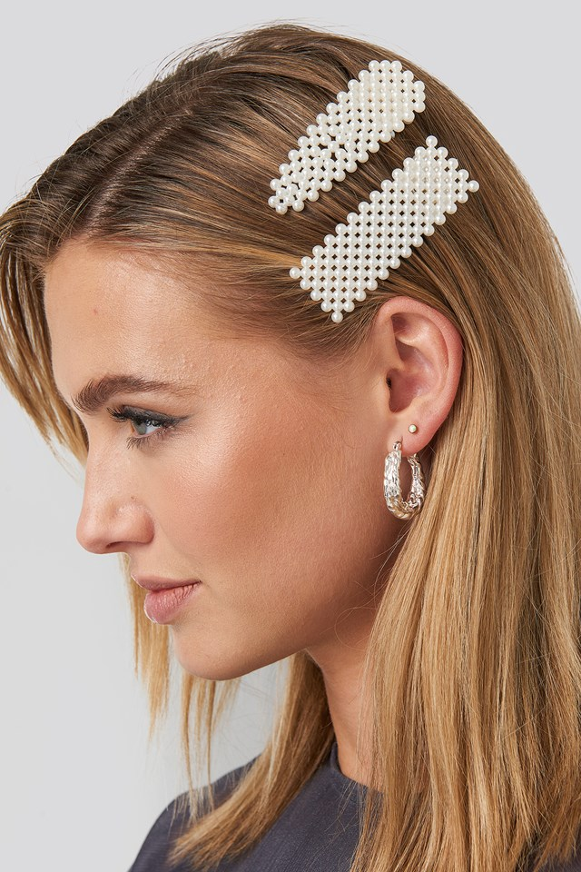 Beaded Hairclips White
