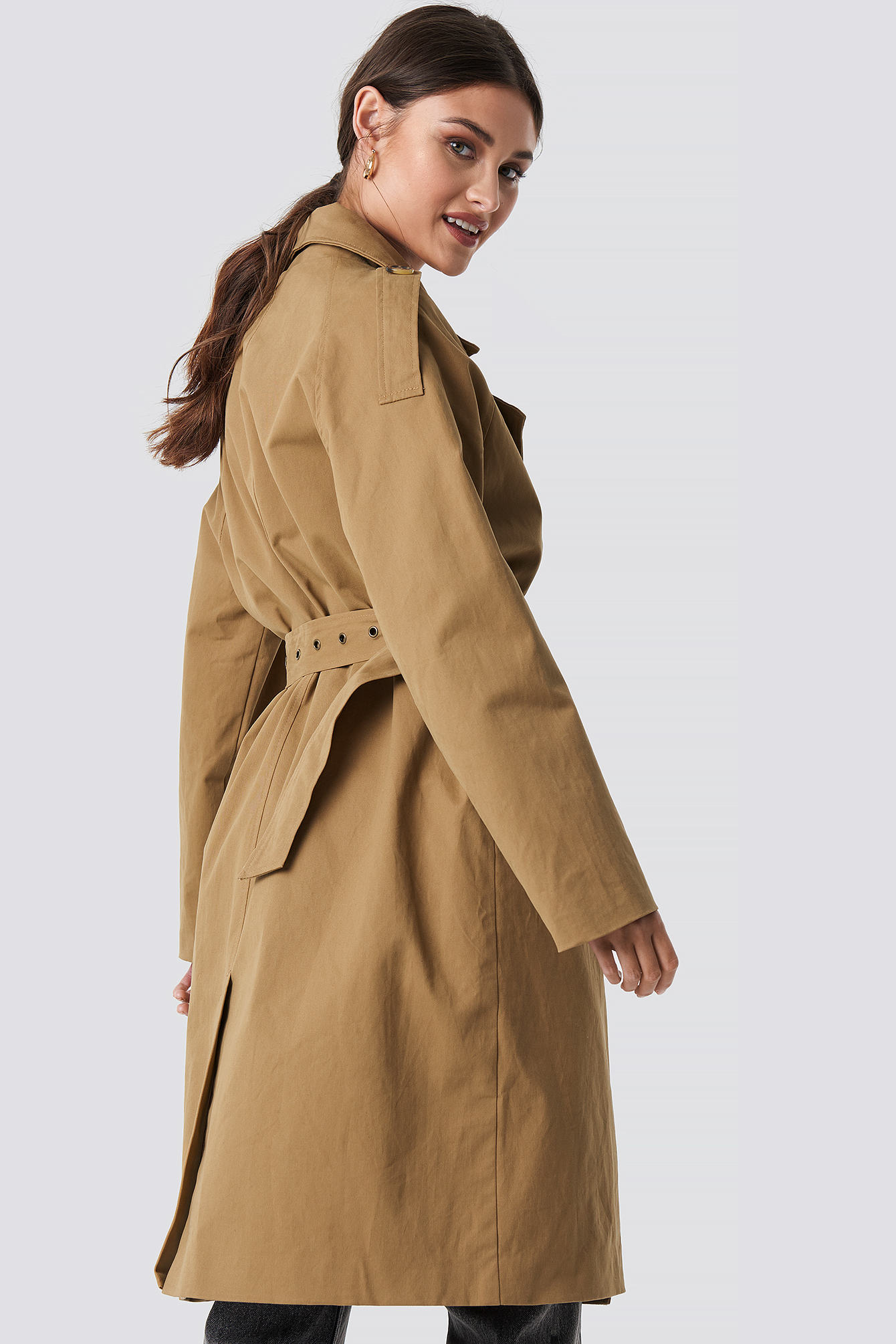 Beige Oversized Trenchcoat NA-KD.COM
