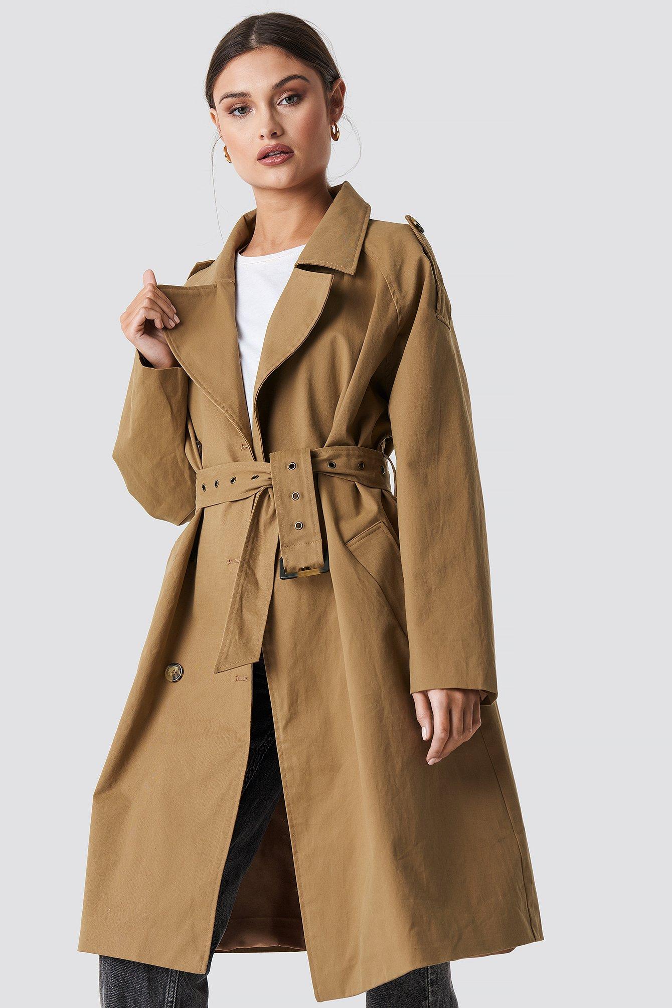 na-kd trend -  Beige Oversized Trenchcoat - Beige