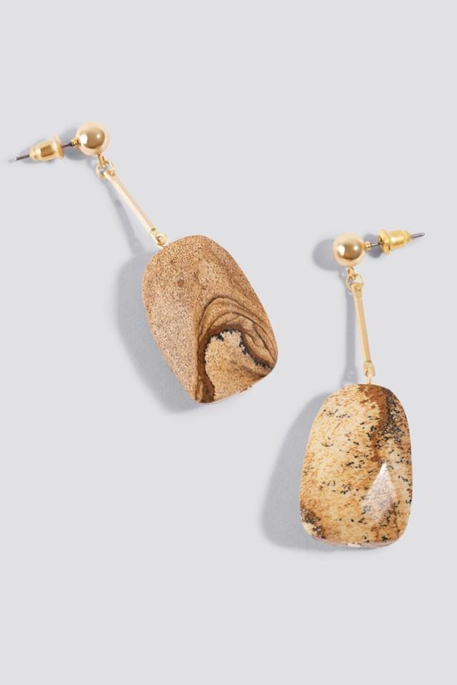 Beige Stone Earrings NA-KD Accessories
