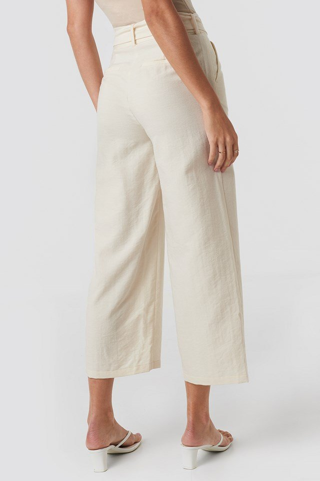 Belted Wide Pants Eggshell