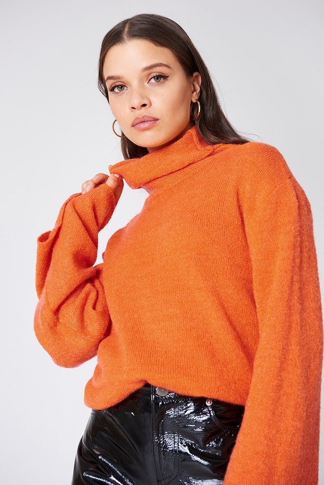 Bell Sleeve High Neck Knitted Sweater Orange