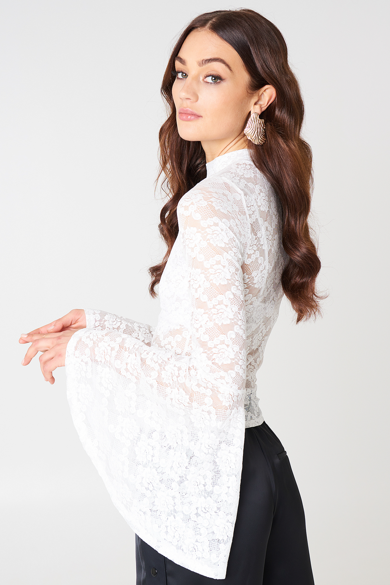 Bell Sleeve Lace Top NA-KD.COM