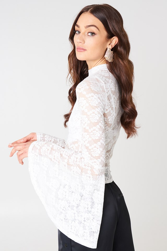 Bell Sleeve Lace Top White