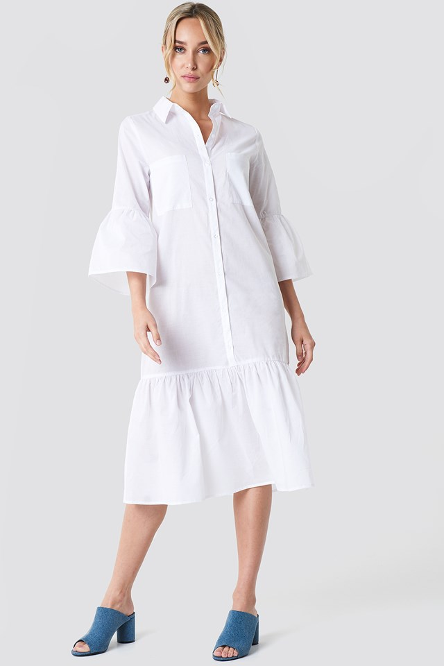 Bell Sleeve Shirt Dress White
