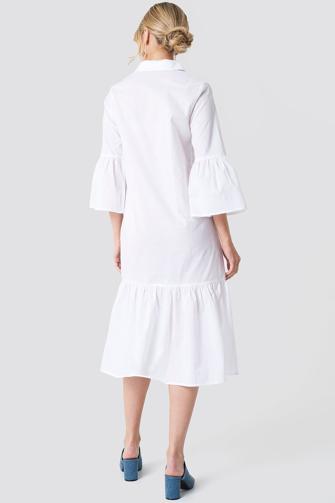 Bell Sleeve Shirt Dress NA-KD.COM