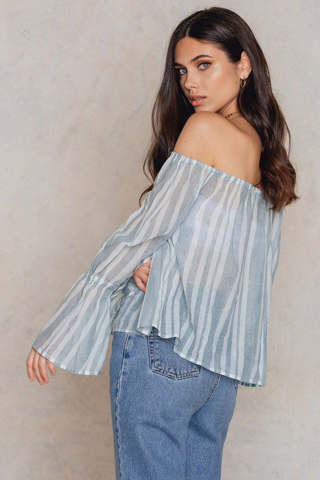 Bellsleeve Off Shoulder Cropped Top Blue Print