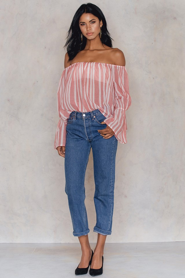 Bellsleeve Off Shoulder Cropped Top Red Print
