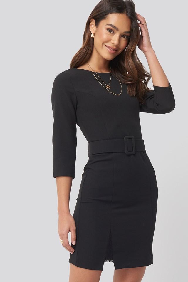 Belt Lace Detail Mini Dress Black