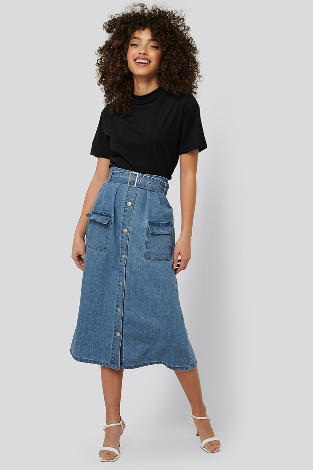 Belted A-Line Denim Skirt Mid Blue
