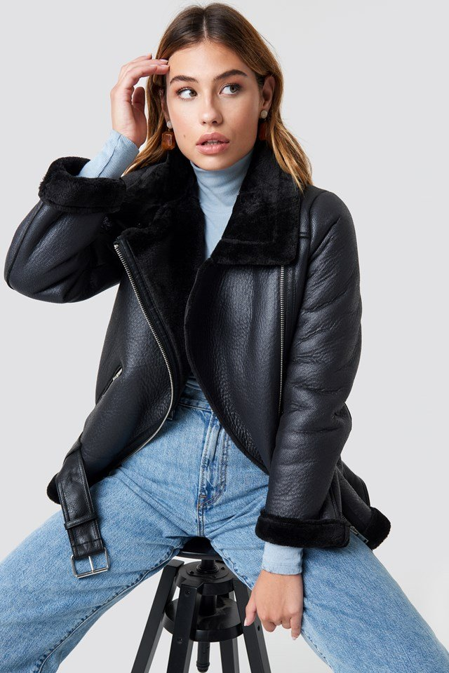 Belted Aviator Jacket NA-KD Trend