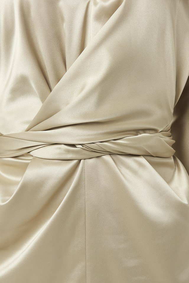 Belted Batwing Sleeve Maxi Dress Beige