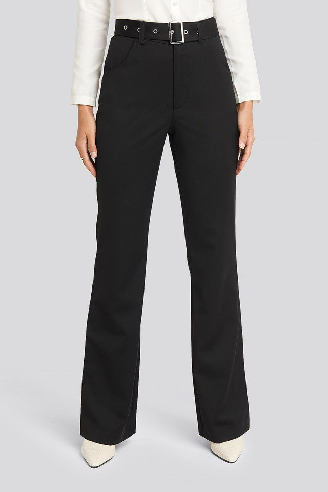 Belted Bootcut Pants Black