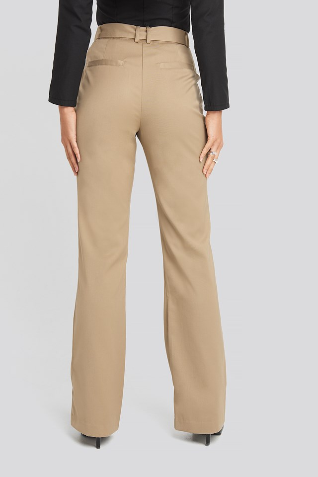 Belted Bootcut Pants Beige