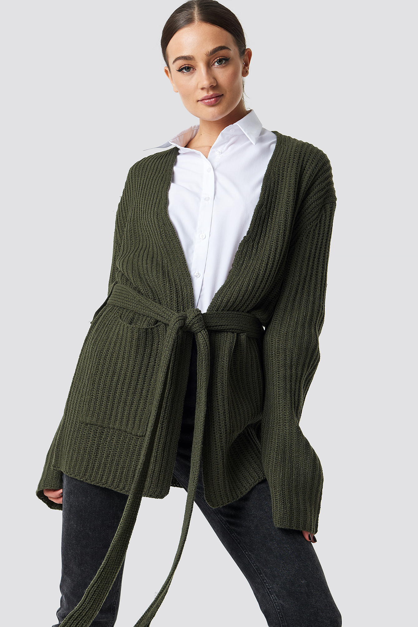 na-kd -  Belted Cardigan - Green